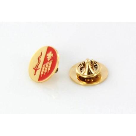 Pozłacany pins z herbem